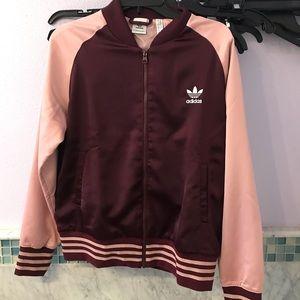 NWT Adidas Maroon Pink Satin Bomber Jacket Sparkle